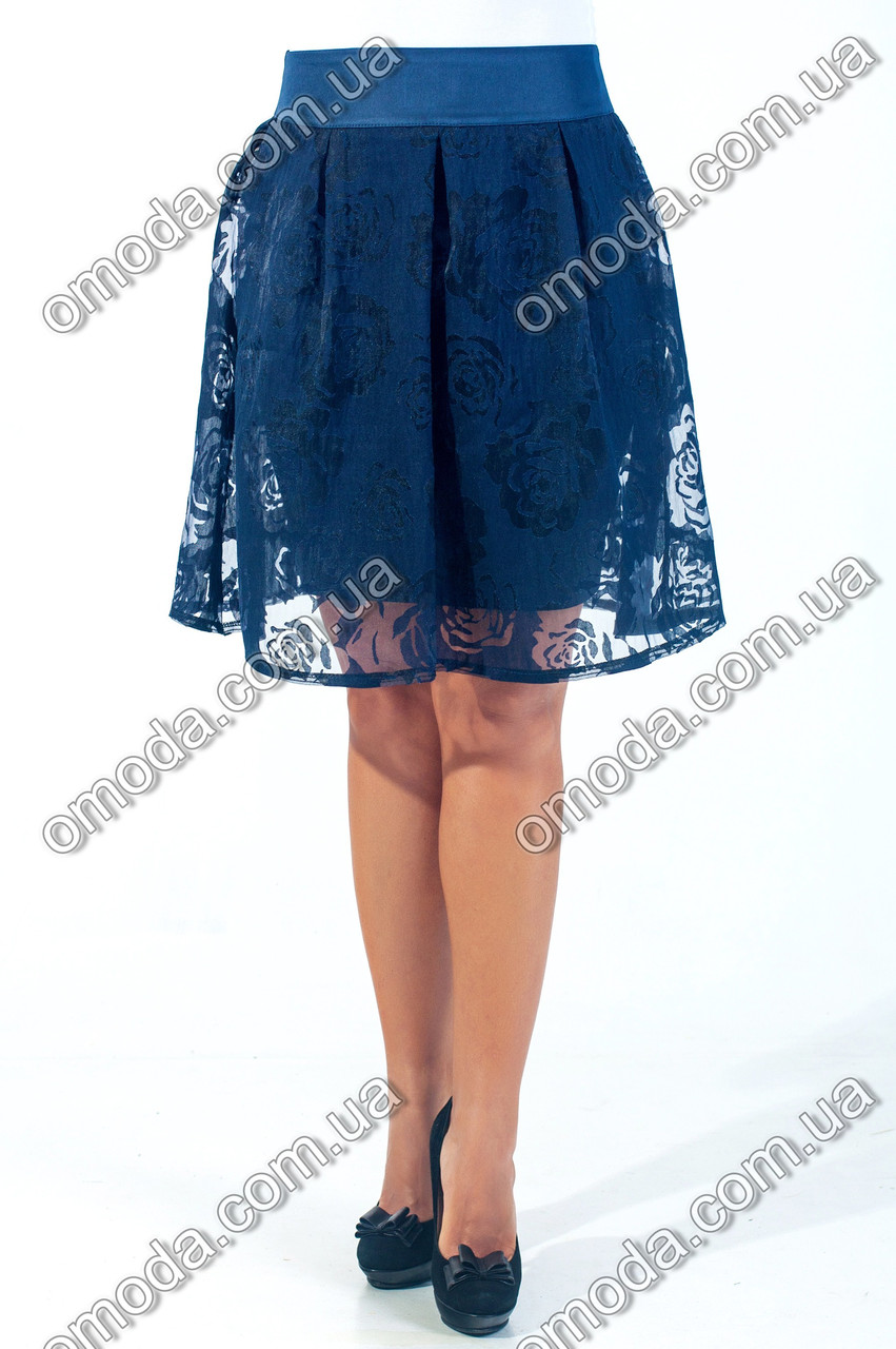 Молодежная юбка полу-солнце Валери синяя