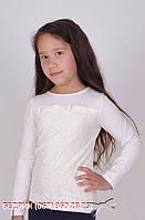 Блуза для девочки с длинным рукавом, молочная декорирована гипюром, MEVIS (Мевис), 1601, Украина 122-146