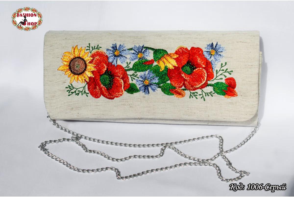 Вышитый серый клатч Поле цветов