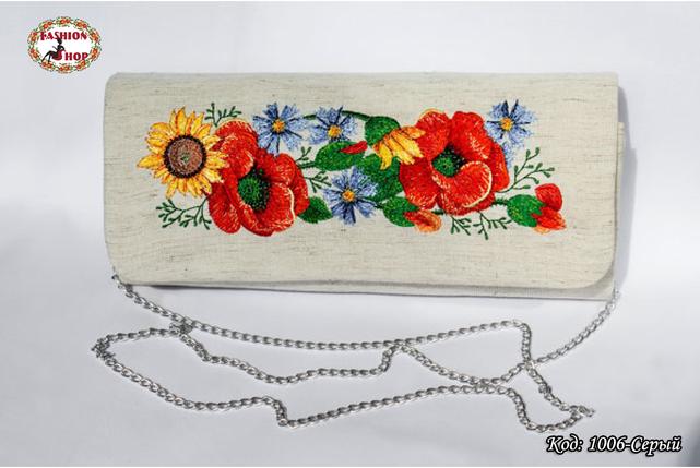 Вышитый серый клатч Поле цветов, фото 2