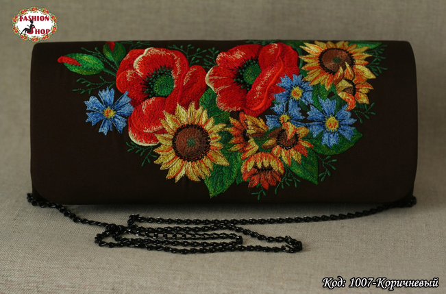 Вышитый коричневый клатч Украинские цветы, фото 2