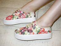Т589 - Слипоны женские цветные шнурок