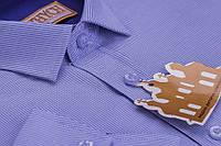 Модная рубашка в синюю полоску для мальчика от фирмы Княжич, фото 1