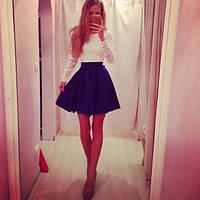 Элегантное молодежное мини платье с гипюровым верхом