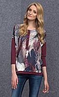 Женская удлиненная блуза цвета бордо с абстрактным принтом, длинный рукав. Модель Livia Zaps.