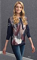 Женская удлиненная блуза синего цвета с абстрактным принтом, длинный рукав. Модель Livia Zaps.