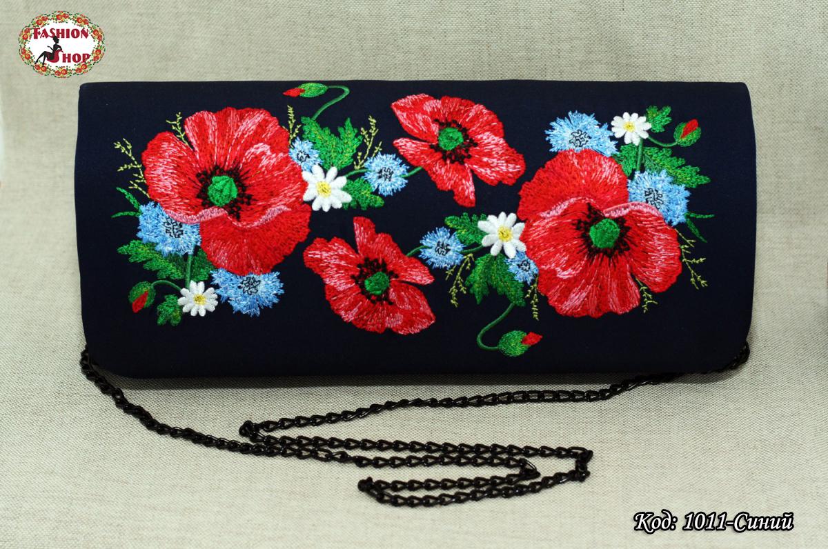 Вышитый синий  клатч Полевые цвети