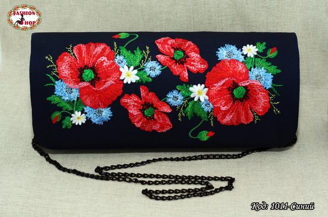 Вышитый синий  клатч Полевые цвети, фото 2