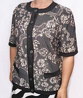 Летняя женская блуза большого размера с черными вставками
