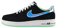 Женские кроссовки Nike Air Force 1 Low Black Shiny Silver, найк аир форс