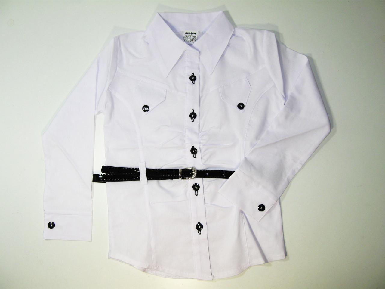 Рубашка нарядная белая для девочек, размеры 134.140.158, арт. 102
