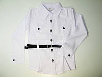 Рубашка нарядная белая для девочек, размеры 134.140.158, арт. 102, фото 1