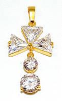 Крестик ХР позолота с лимонным оттенком. Камень: белый фианит. Высота: 4 см. Ширина: 20 мм.