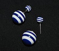 Серьги синие в полоску пластиковые, 1,6/0,7 см (55/25)