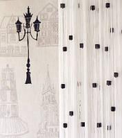 Шторы  нити белые с  цветным  квадратным стеклярусом  для спальни