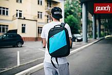 Рюкзак, PUNCH, черно-голубой, спортивный рюкзак, стильный, молодежный рюкзак