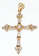 Крестик ХР позолота , камень -белый фианит, высота 4,5 см. ширина 28 мм.