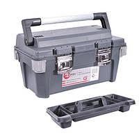 """Ящик для инструментов с металлическими замками и алюминиевой ручкой 20"""" 500x275x265 мм INTERTOOL BX-6020"""