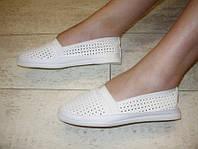 Т600 - Слипоны женские белые перфорация