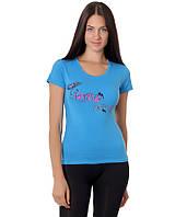 Футболка женская голубая бренд с рисунком сердце