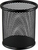 Подставка для ручек круглая металлическая черная