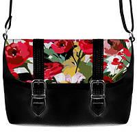Черная сумка Бриф с принтом Красный сад