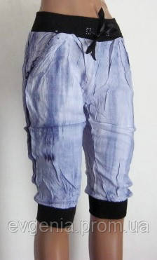 Летние женские бриджи S, M. Цвет голубой