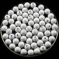 Бусины пластиковые диаметр 8мм (упаковка 50шт) Цвет - белый