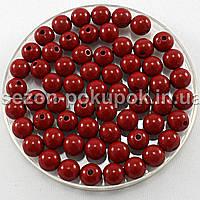 Бусины пластиковые диаметр 8мм (упаковка 50шт) Цвет - спелая вишня