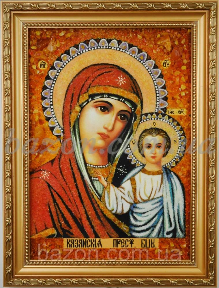 """Икона из янтаря """"Казанская Богородица"""" 15х20 см"""