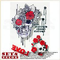 """Временная татуировка (наклейка) 3D """"Череп, розы и любовь"""""""