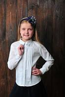 Классическая белая блузка на девочку в школу.