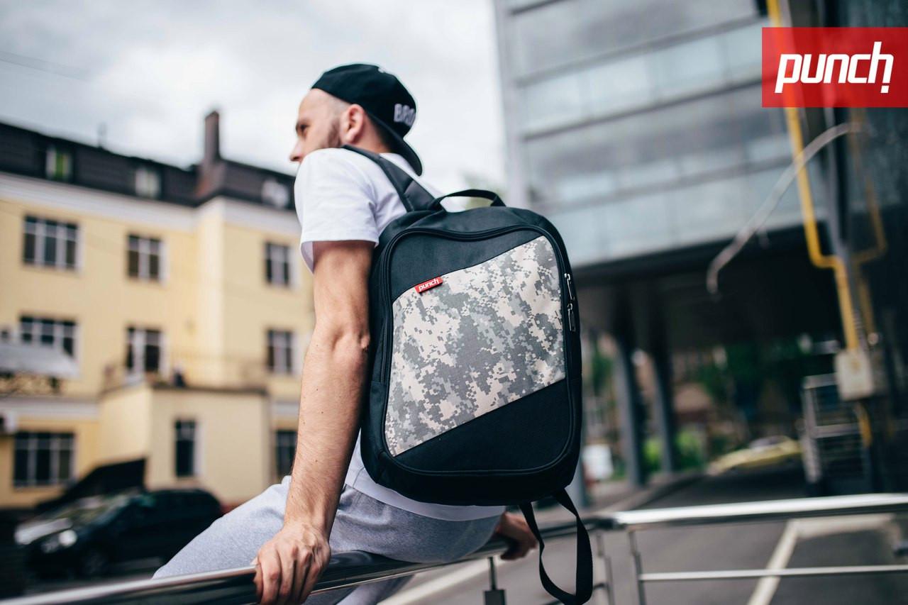 Городской рюкзак Punch Black/ACUPAT, спортивный рюкзак
