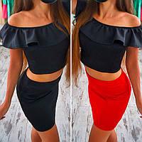 Женский стильный костюм: топ и юбка (много расцветок), фото 1