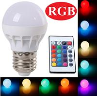 Лампа с пультом управления Е27 3W RGB цветная