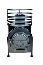 Банная печь с круглой сеткой большая без выносной топки, фото 3