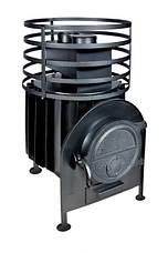 Банная печь с круглой сеткой большая без выносной топки, фото 2