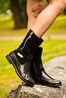 Ботинки  Б-150 черные из натурального замша и кожи