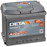 Автомобільний акумулятор Deta Senator 3 Carbon Boost, DA472, 47Ah/450A, R+, пусковий, для легкових автомобілів
