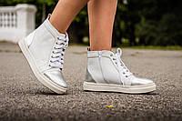Ботинки кеды Б-430 из натуральной кожи белого цвета с серебряными вставками