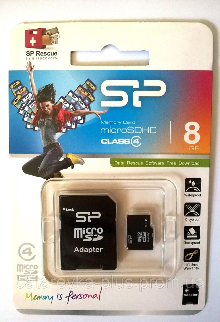 Карта памяти Silicon Power microSDHC 8 GB Class 4 (+ адаптер)