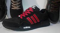 Мужские кроссовки Adidas NMD (черные с красными полосками)