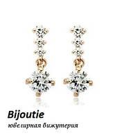Серьги DORIS GOLD ювелирная бижутерия золото 18К декор кристаллы Swarovski