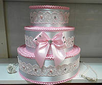 """Тортик для денег """"Бантик нежность"""" розовый"""