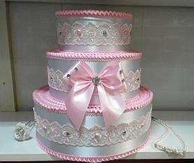 """Тортик для денег на свадьбу """"Бантик нежность"""" розовый"""