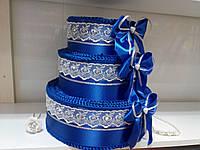 "Тортик для денег на свадьбу ""Бантик трио"" синий"