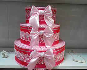 """Тортик для денег на свадьбу """"Бантик торжество"""" розовый"""