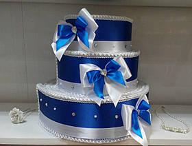 """Тортик для денег на свадьбу """"Бантик торжество"""" синий с белым"""