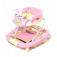 Детские ходунки Baby Tilly 22088 улитка с качалкой розовые