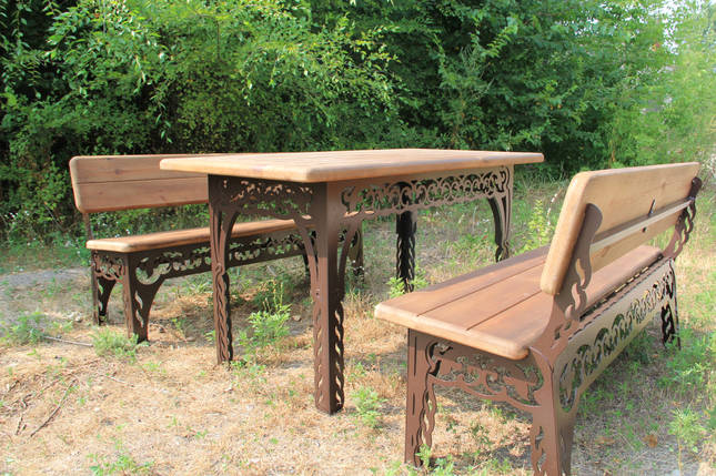Набор садовой мебели (Стол, скамейки 150см) цвет шоколадный, фото 2
